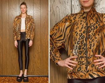 Vintage 80s 90s Leopard Cheetah Hipster Club Kid Raver Tan Green Black Silk Nylon Shiny Zip Up Windbreaker High Neck Vapor Jacket L