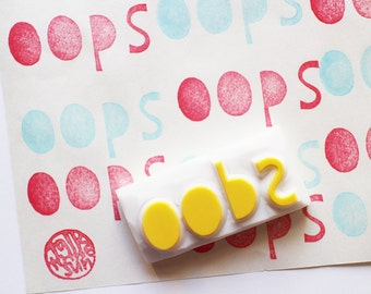 oops rubber stamp   word stamp   card making   diy art planner   gift wrapping   craft gift for her   hand carved by talktothesun