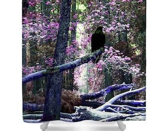 MYSTICAL RAVEN FOREST Shower Curtain Surreal Fantasy Photo Twilight Art Print Lavender Purple Black Raven Crow Trees Bath Shower Curtain