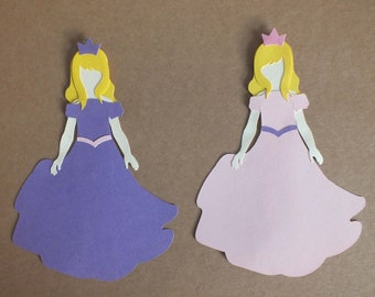 2 Assembled PRINCESSES Greeting Cards Scrapbooking Dress up dolls