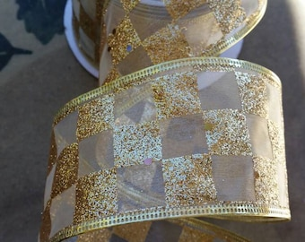 Gold Glitter Checkerboard Pattern Christmas Holiday Ribbon Decorations - Holiday Bow Supplies - Wire Edged Ribbon 2.5 inch wide - 1 yard