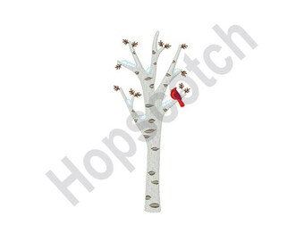 Cardinal Winter Birch Tree - Machine Embroidery Design-