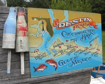 Destin Florida sign Handpainted and lettered. Great Decor item for a beach house, Kitchen, Restaurant, Bar or Guest house wall hanging.