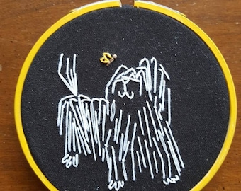 Embroidered hoop (sm) Sheepdog and Butterfly