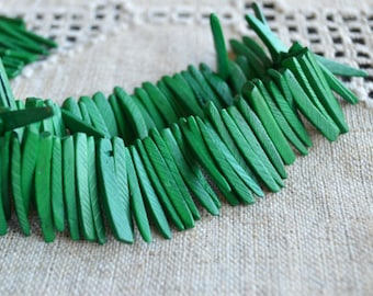 Green Sticks Wood Beads Top-Drilled Stick 25x4mm 16 Inches Coconut Palm