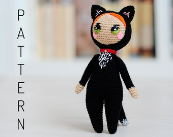Crochet amigurumi kawaii halloween cat catgirl catwoman doll pattern chart