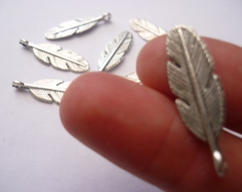 BULK - 30 Antique Silver Feather Charms - BULK1S