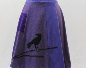 T-Skirt | upcycled, recycled purple t-shirt skirt with crow/blackbird/raven appliqué + pocket