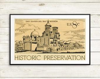 Mission San Xavier del Bac, US history art prints, Tucson Arizona posters, historic preservation postage stamps, US postage stamp art prints