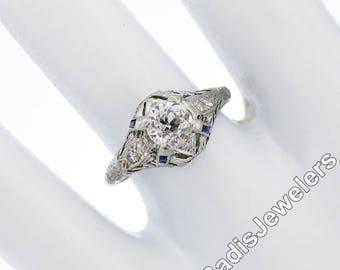 Antique Art Deco Platinum .89ct Diamond Sapphire Filigree Etched Engagement Ring