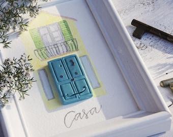 Quadro bianco con casa con porta in rilievo, illustrazione acquarello. regalo casa nuova, porta turchese, regalo per coppia, regalo amici