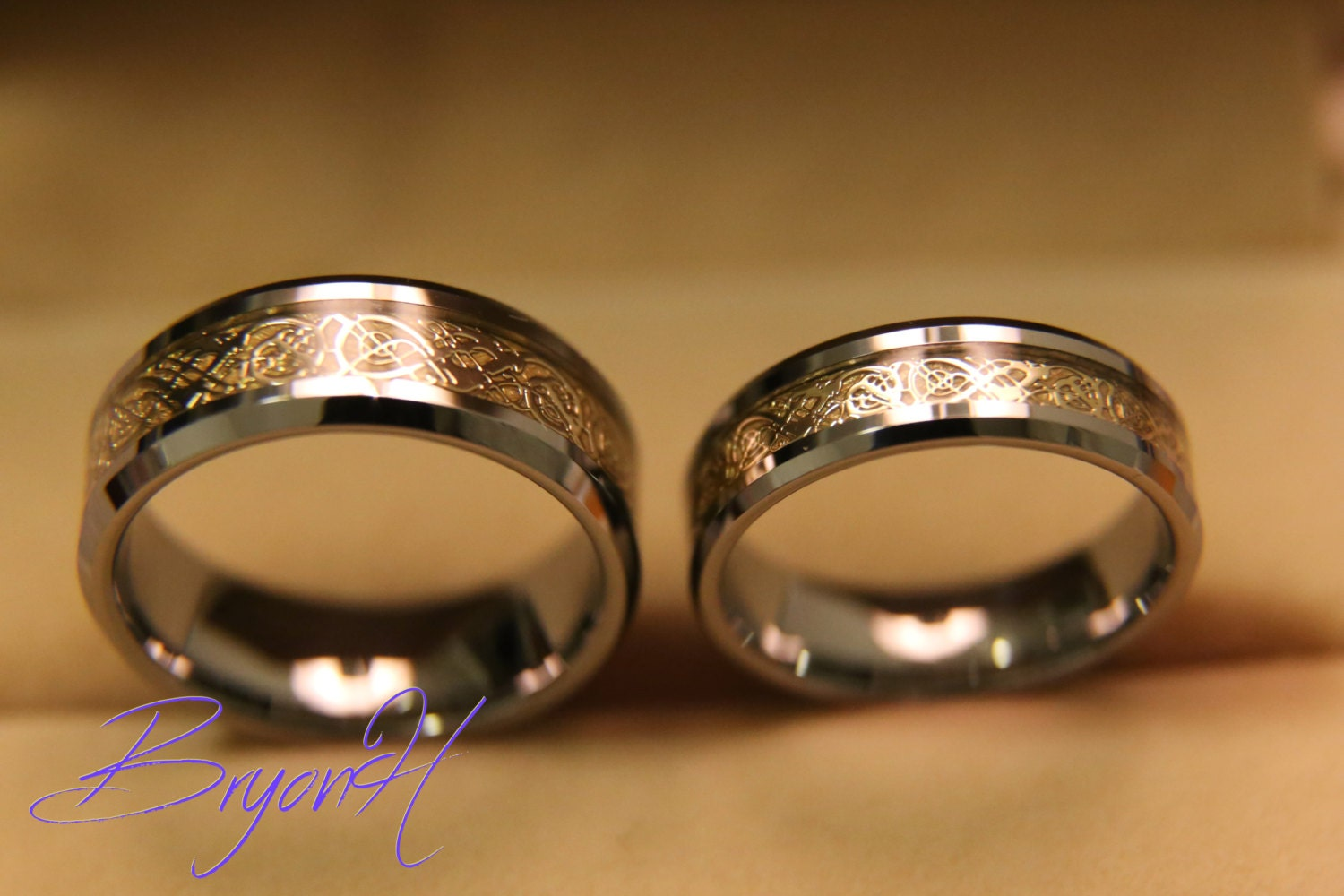 Tungsten Wedding Bands Set Matching Size Tungsten Wedding