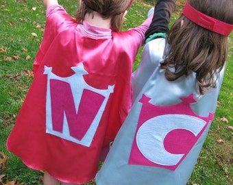 2 Superhero Cape Costume Kid Capes Personalized You Pick Colors Logo letter superhero favor