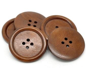 Gros Bouton Brun - 3 boutons en bois de 40mm