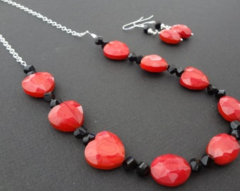 CLEARANCE - HEART FELT beaded necklace and earrings set made with glass and all sterling silver parts.  Funky jewelry.