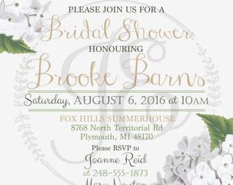 Bridal Shower Party Invitation ~ Invite ~ Personalized ~ gold ~ green ~ hydrangea - flower - elegant - wedding - white
