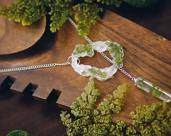 Fern leaves resin necklace Geode slice resin  terrarium necklace pendant crystal point jewelry