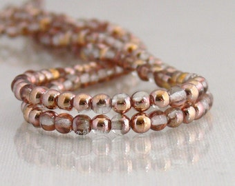 Apollo Gold Czech Glass Beads 4mm Druk 100 Round Copper Crystal