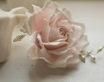 Pale pink Flower brooch Pink rose Vintage wedding Hair Accessories Wedding accessories Bridal accessories Flower brooch Valentines gift Rose