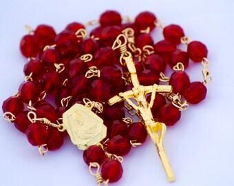 Catholic Handmade Sacred Heart of Jesus Garnet Czech Glass Goldtone Rosary OOAK