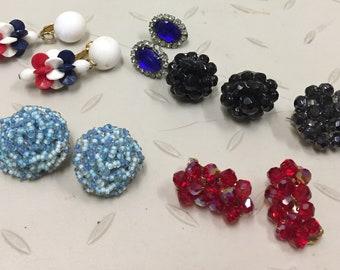 Lot of GREAT Vintage Mid-Century Earrings 5 Pair + Brooch
