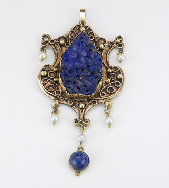 Lapis Lazulli and Pearl Pendant Victorian Edwardian 14K Yellow Gold Carved