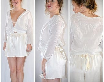 Antique Edwardian White Cotton Hand Embroidered Blouse 38 Inch Bust