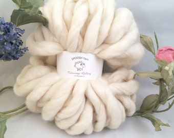 "Super Chunky Yarn, Giant Yarn, Super- THICK Yarn, ""Smoosh Yarn"", Hand Spun yarn"