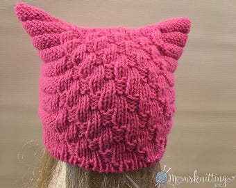 READY TO SHIP>> Pink Cat Beanie Cat Ear Hat Knit Pussy Cat, Grey Pussyhat Project, Women's March Hat, Pussycat Hat, Feminist Hat, Grey Cat.