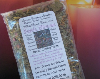 BRIGID'S BEAUTY BLESSING Bath Soak ~ Floral Herbal Incense Smudge ~ Casting Herbs 1oz, Muslin Bag, Charcoal Disc