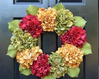 Hydrangea Fall Wreaths, Autumn Wreath, Fall Hydrangeas Fall Wreath Decor, Fall Weddings, Fall Decoration, 19 or 24 inch