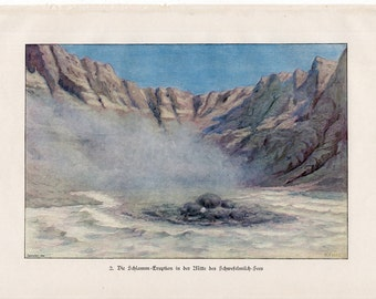 1900 VOLCANO crater original antique lithograph print - volcanis ash no 2