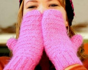 Pink Crochet Handmade Mittens