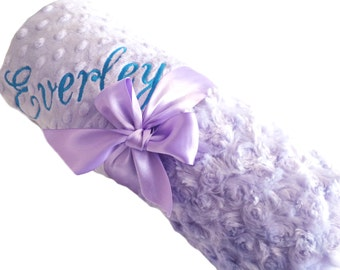 Personalized Baby Blanket, Lavender Swirl Minky with Lavender Dot Minky Back, Standard Size
