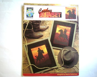 Cowboy Sunset Booklet Cross Stitch Pattern by True Colors Counted CrossStitch Chart BCL 10001 DMC Anchor J&P Coats Sharon Sutherland