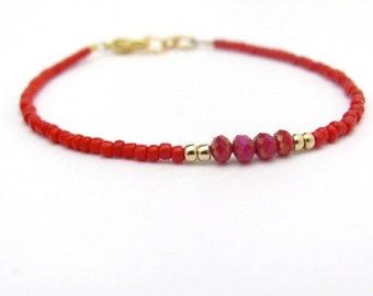 Red Bracelet, Red Friendship Bracelet, Crystal Beads, Seed Bead Bracelet, Friendship Bracelet, Minimal Bracelet, Beaded Bracelet, Valentine