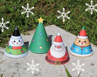 Christmas Paper Ornament Cone for Kids (Color)