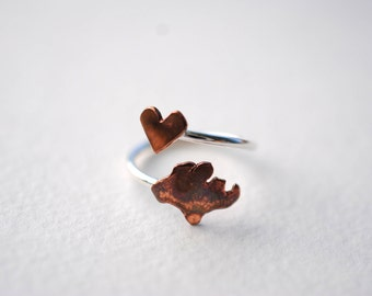 Singapore Heart Love Twist Country Ring (Sterling Silver & Copper Singapore Ring)