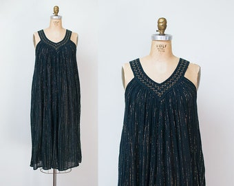 1980s Gauze Sundress / 80s Gold Lurex Stripe Dress