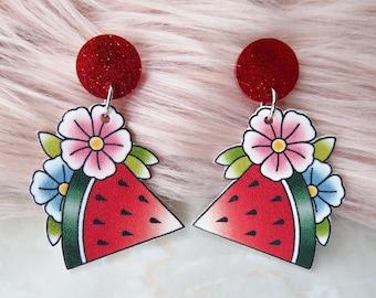 Watermelon Dangle Earrings / Pinup / 1950s / Rockabilly / Retro / Tattoo / Tiki