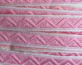 Italy 3 Yards Vintage Woven Edging Fabric Sewing Trim Pink And White  IT 38