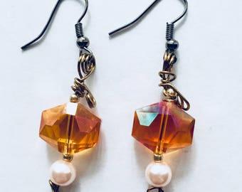 Orange Gem and Pink Pearl Earrings