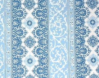 Retro Wallpaper by the Yard 70s Vintage Wallpaper - 1970s Blue and White Damask Stripe