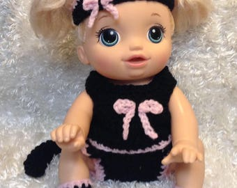 14 Inch Doll clothes For crawling Doll . Black Cat Set.