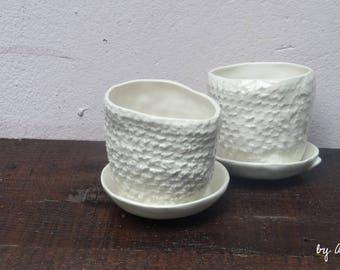 small earthenware texture crochet flower pot