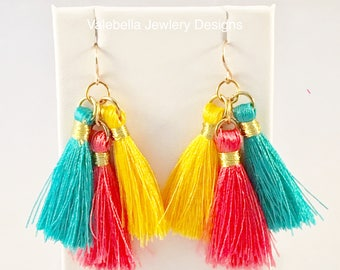 Earrings Colorful Trendy Triple Tassel gold tone french wire dangle earrings tween teen summer coral yellow turquoise cruise wear 10 dollars