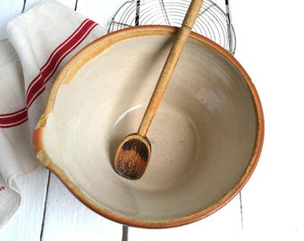 Simple Rustic Earthenware Antique Jatte Dough Bowl French Vintage Mixing Bowl Tian Gres du Bonny