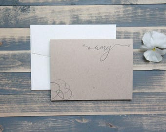 Abstract Floral Custom Personalized Stationery Set | Rustic Personal Stationary | Mothers Day | Christmas Gift  | Stocking Stuffer | Amy