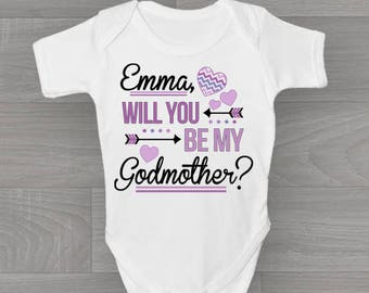 Personalised Will You Be My Godmother? Baby Grow, Cute & Unique Bodysuit Baby Gift for Christening.