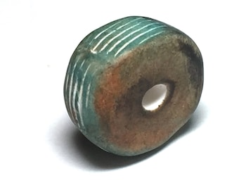 Artisan made organically shaped textured polymer clay bead in green and sepia(E31)